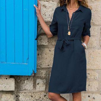 Vestido azul manga tres cuartos