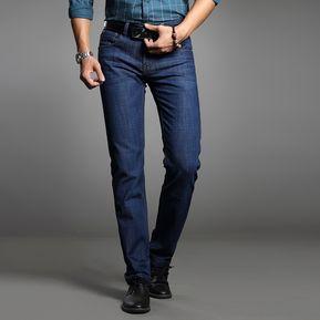 2a43165e Largo Negocio Tramo Derecho Slim Jeans Hombres Lavar Casual Pantalones