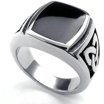 Anillo de ancho pulgar anillo de Onyx 17mm lisos negro plana señora caballero unisex