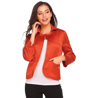 dd78ea584678c Zeagoo Traje Saco Casual Blazer Jacket Con Bolsillo Casual Modern Casa Para  Mujer-Naranja