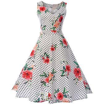 4adb34010 Compra Vestidos Vintage Florales Estampados-Blanco online