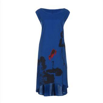 fffa39ec5c Mujer Elegante Largo Vestir Sueltos Vestido Impresión Ropa Sin Manga-Azul