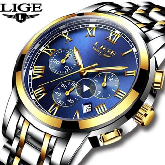 Calendario Ligue.Reloj Hombre Ligue Cronografo Calendario Dorado Azul