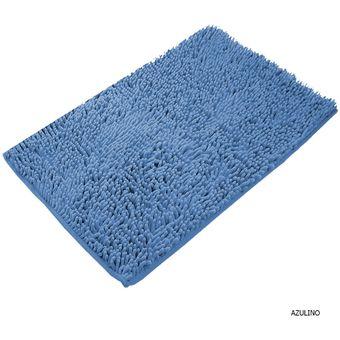 Alfombra Para Baño Shaggy Lavable Pelo Largo Tacto Soft Azulino