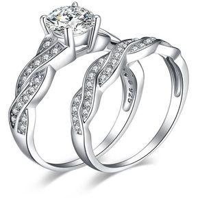36bc86280b89 EY 2PC SET anillos de dedo de la mujer elegante boda circón acoplamiento  hembra-
