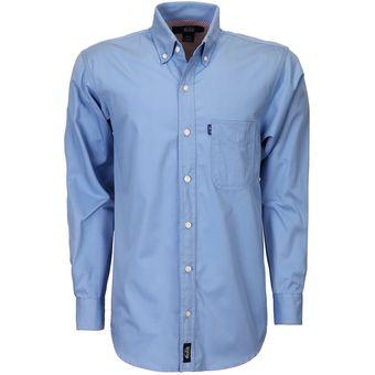 Camisa Caballero Manga Larga Polycotton Hombre Uniforme Empresarial  Ejecutivo Oficina Color-Azul Francia a3ad3d04b3b76