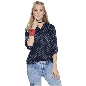 56070 Marketing Estampado Personal Juvenil Para Mujer Camisa Azul wCx7qXT