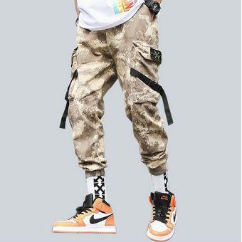 Pantalones Cargo De Camuflaje Para Hombre Ropa De Calle Informal Con Cintas De Hip Hop Para Hombre Pantalones Para Correr Pantalones De Moda Para Hombre Pantalon Deportivo Hombre Bq Color 1 Linio