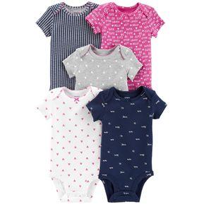 52ac3fe0d Set De 5 Bodys Carters Para Bebé Niña