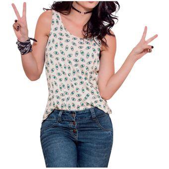 b5a29cd29 Compra Blusa Juvenil Marketing Personal Para Mujer Marfil Estampado ...
