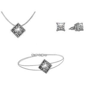 0471cade1a9b Conjunto De Collar Con Aretes Sparkling Squares Con Incrustaciones De  Cristales