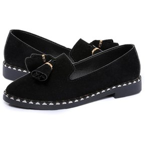 7d449fdd3b61b BX Mujeres Slip-on sólidos zapatos de tacón bajo negro