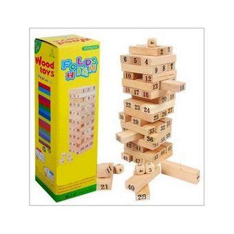 Compra Jenga Madera Bloques48 Torre Construccion Dados 6215 Juego
