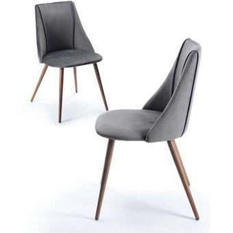Set de 2 sillas para Comedor Keiä Smeg Terciopelo Gris