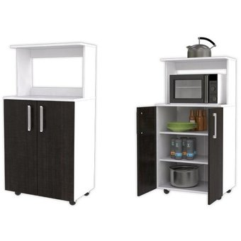 Compra mueble para microondas maderkit color blanco roble for Muebles de cocina para microondas