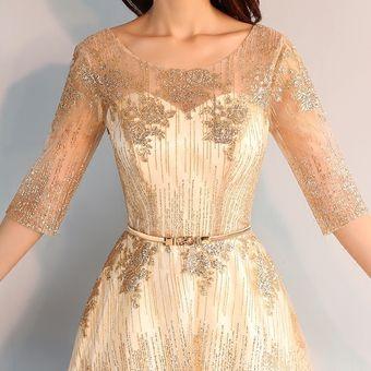 Dorado Vestidos De Fiesta Vestidos Elegantes Largo Vestido De Noche Mujer
