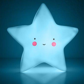 Azul Lámpara Habitación Deco Estrella Cuna 547 2 Bebe Led l1TFKcJ