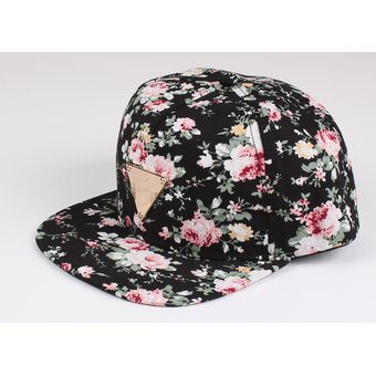 Béisbol Snapback Hip Hop Gorra Sombrero Floral Para Mujeres Niña -Negro d7558dc26a9