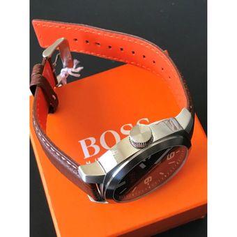 fd26d7043b8e Reloj Hugo Boss 1513408 Cape Town Acero Inox Correa De Cuero - Marrón  Plateado Negro