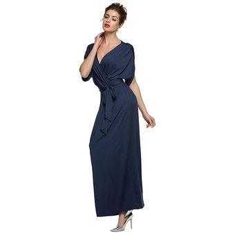d91d8579f Bluee Oscuro Vestido Moda Vestidos Para Señoras Grandes Tamaño Vestido Puro  Color Vestido Suelto Grande Swing