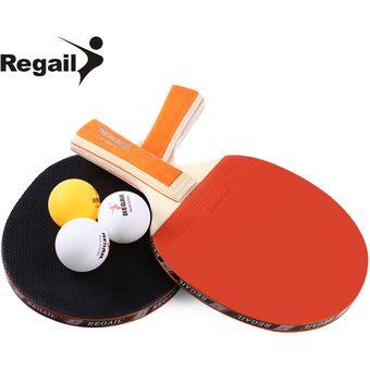 8bfa30f7e5 Conjunto De Raqueta De Ping Pong REGAIL A508 Dos Raquetas Y Tres Bolas -  Naranja