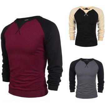 Compra Camiseta Bicolor Manga Larga Para Hombre-Vino De Rojo online ... 02631b79cd3
