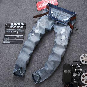 Pantalones Vaqueros Sueltos Moda Pantalones Agujero Pantalones Slim Motos Hombres 1 Hombre Cool Robin Nuevo Largo AqwB6HB
