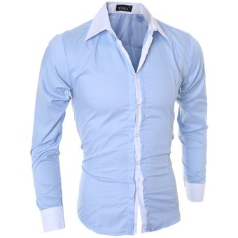 Compra Hombres Manga Larga Contraste Recortar Camisa (Azul) online ... b083ce6aac0