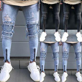 Pantalones De Mezclilla Ajustados Para Hombre Rectos Rotos Rotos Desgastados Con Cremallera Elastizados Con Parche En La Rodilla Pantalones Vaqueros Pantalones Vaqueros Para Hombre Pantalones Vaqueros Cenidos Blue Linio Mexico