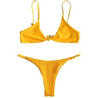 Zaful Bikini Smocked Bralette Micro Set Amarillo LMSzVpGUq
