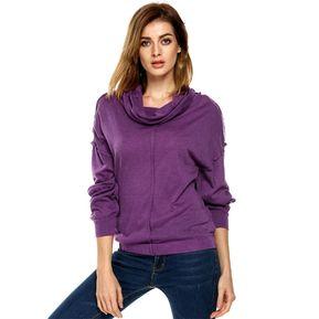 Camiseta Finejo De Cuello Alto Manga Larga Para Mujer-Púrpura 6afbdf773e8d