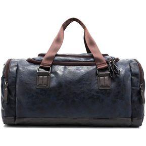 2ce46240 Hombres PU Hombro Bolso De Cuero Bolsa De Viaje Gym Sports Bag - Azul