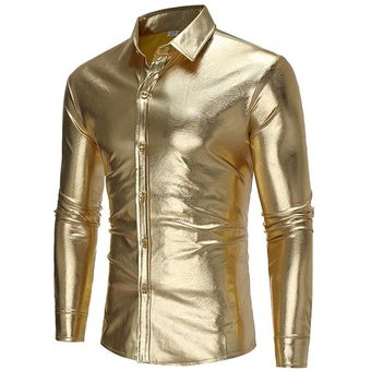 Compra Camisa Casual De Manga Larga De Hombre De Manga Larga-Dorado ... e38f00126718a