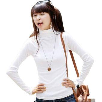 4fffb6eac85e7 Agotado Camisa Camiseta Básica Manga Larga Cuello Alto Delgado Para Mujer -Blanco