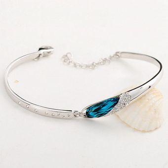 c5b8303160f7 Agotado Diamantes De Imitación Elegante Brazalete Pulsera Cristal Plata  Plateado Encanto Pulsera Joyas Regalo - Plata