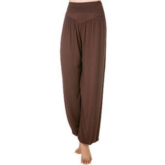 Tela Modal Pantalones De Yoga Sueltos De Cintura Alta Para Mujer Pantalones Bombachos Lan Marron Linio Mexico Ge598sp0s56bblmx