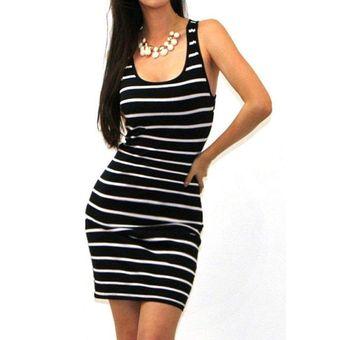 5cd4687146 Compra Vestido Casual Bodycon Tubo Rayas Yucheer -Negro Con Blanco ...