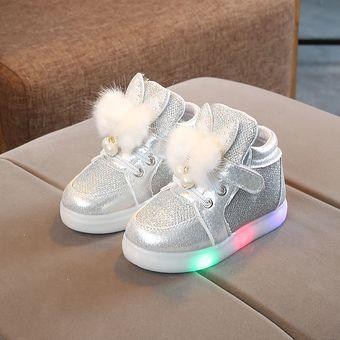 bcce8640 Compra Zapatos De Diamante De Luz Led Para Niñas-Plateado online ...