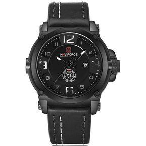 eeb766e2c813 Reloj Hombre Naviforce deportivo militar correa cuero- Negro