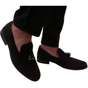 d2c7058b Zapatos Loafer Para Hombre Romano OutFit Negro Gamuza