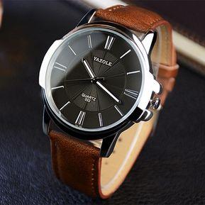 YAZOLE Reloj de pulsera de cuarzo con correa de cuero para hombre bde412a0e7fd