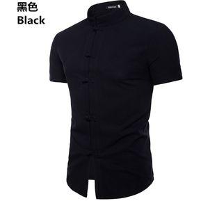 1e02bfd9ee Camisa De Lino De Manga Corta Para Hombre Cuello Alto Camisas Para Hombres