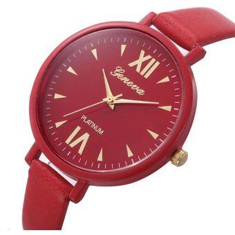 Agotado Relojes Correa De Cuero Cosa Análoga Sencillo Marcar Mujer-Rojo 0b9e1e8201a1