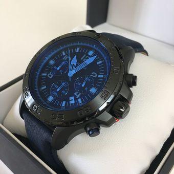 5fcaea43c16f Reloj Nautica NST 01 Acero Inoxidable Correa De Cuero NAI21008G - Negro Azul
