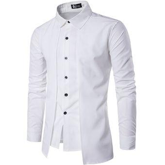 Camisa De Manga Larga De Doble Solapa Con Dos Piezas Falsas Para Hombre c56f5a6b4b2