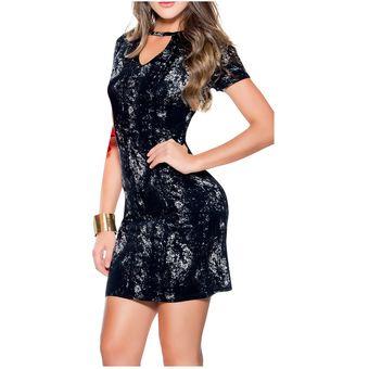 2264d595e9e3 Vestido Corto Adulto Marketing Personal Para Mujer -Negro Estampado