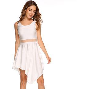 Vestido Separado Irregular Gasa Yucheer Para Mujer Blanco aa0baa0444cc