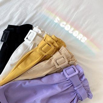 Elegante Pantalones Cortos De Algodon Para Mujer De Sport De Bud Pantalones Cortos De Pierna Ancha De Cintura Alta De Adelgazamiento Pantalones Cortos Con Un Cinturon Purple Linio Peru Un055fa14sjwrlpe