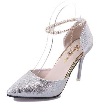 Compra Zapatos Mujer Con Pulsera De Pera Como Cordón - Plata ... 1c1a878943df