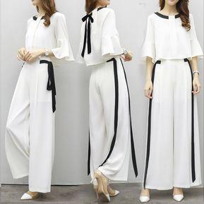 Blusa Y Patalones Conjunto Para Mujer Simple - Blanco a87bce3e6e7c
